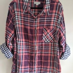 Cute Pink and Purple Plaid Button-down Shirt
